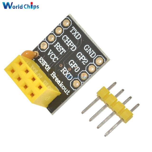 5 piezas para el modelo ESP-01 Esp8266 ESP-01S del adaptador de placa de pruebas serie ESP8266 al módulo de transceptor WiFi módulo UART