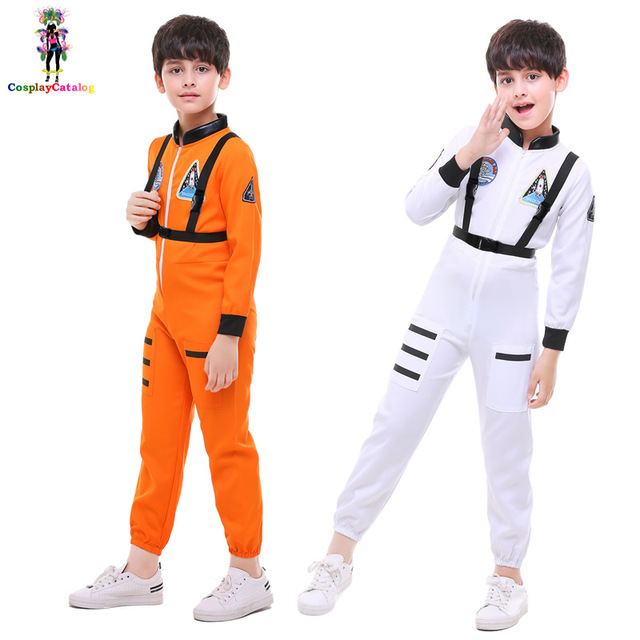 300c3d5cd27b Kid Space Station Astronaut Costume Boy Girl Pilot Jumpsuits NASA Cosmonaut  Halloween Cosplay Children Rompers High 100-140cm