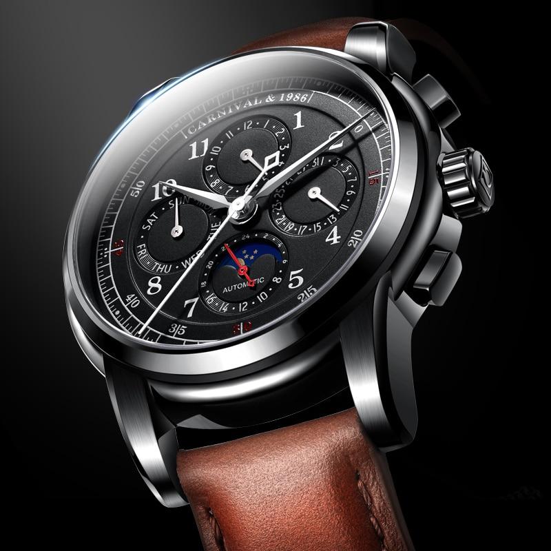 Moon phase Multi-function relogio masculino Carnival Automatic Watches Men Luxury Brand Mechanical Clock Fashion 2017 saat reloj