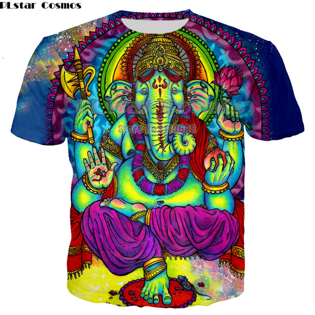 PLstar Cosmos t shirt men woman 3d printed colorful Trippy summer top fashion clothes hip hop printed elepha Psychedelic Tees