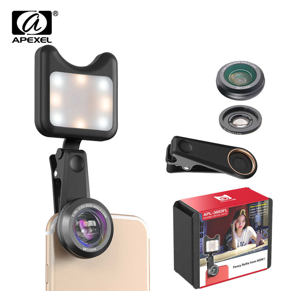 APEXEL selfie phone camera lens kit 3 in 1 wide anglemacro lens with Led Fill light Lens for iPhone Samsung all smartphone 3663