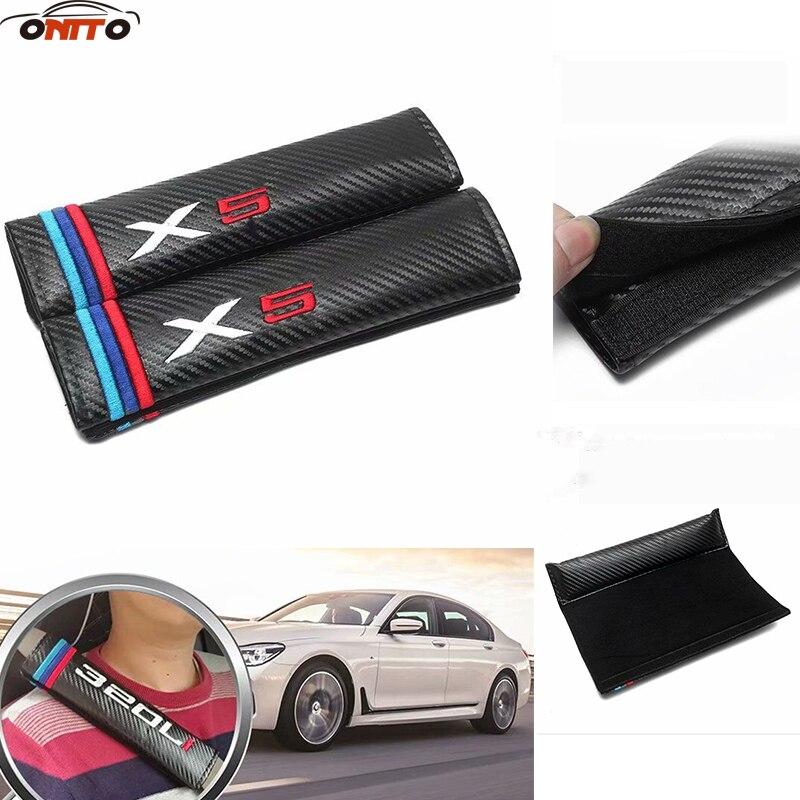 10 paire/ensemble Ceintures De sécurité de Voiture Couvre En fiber de Carbone Auto Rembourrage Siège Ceinture Voiture-Couvre pour bmw X1 X3 X5 x6 car styling