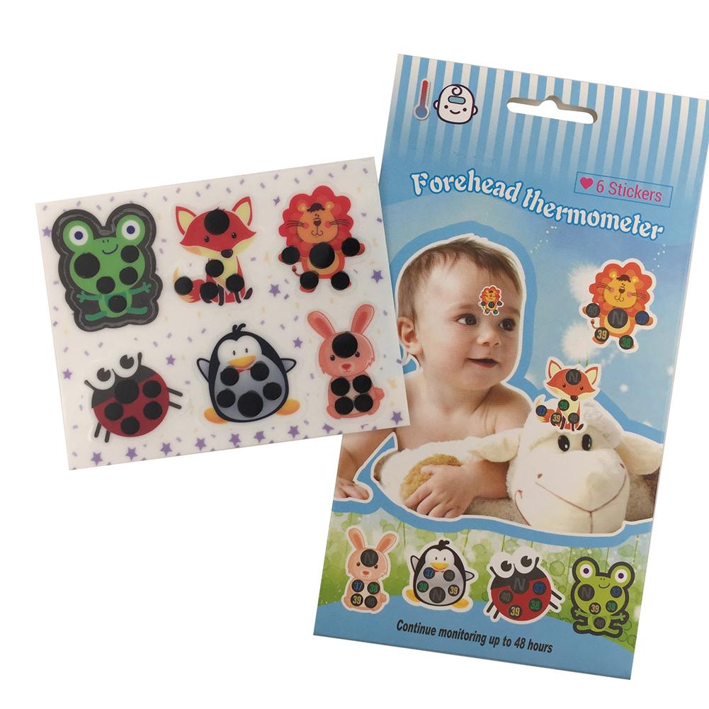 Cute Animal Cartoon LCD Forehead Sticker Thermometers Body Fever Head Strip Temperature Baby Infant Safety Care For Children