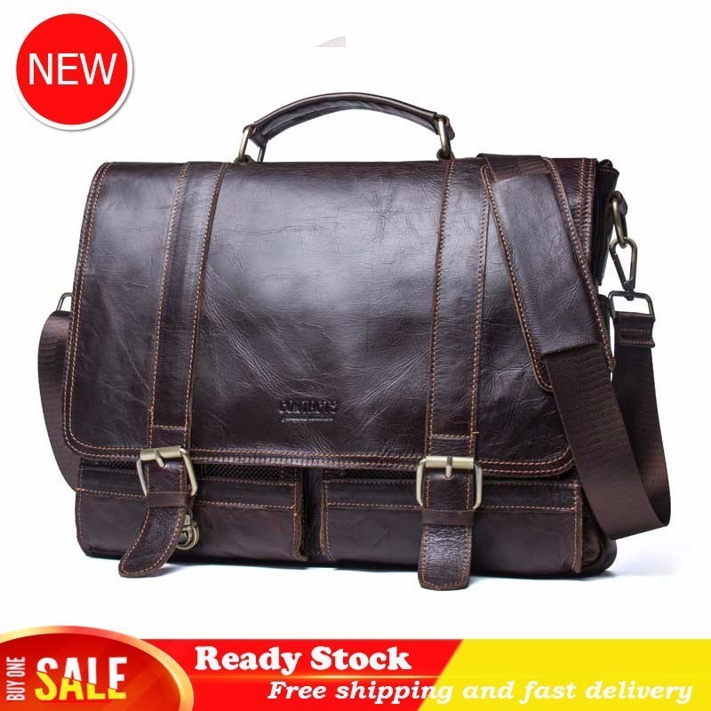 Leather Leisure Time Portable Business Affairs Document Baotou Layer Cowhide Man Computer Package Single Shoulder Satchel Best