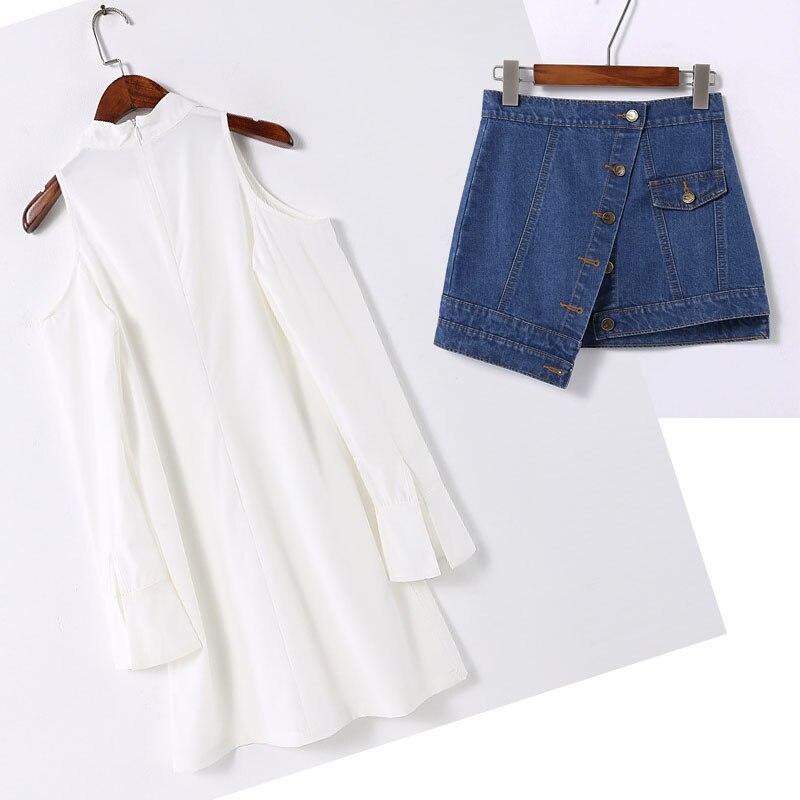 3699d844a8 female clothes women's dress +Ladies' denim button front skirt suit casual  two-piece