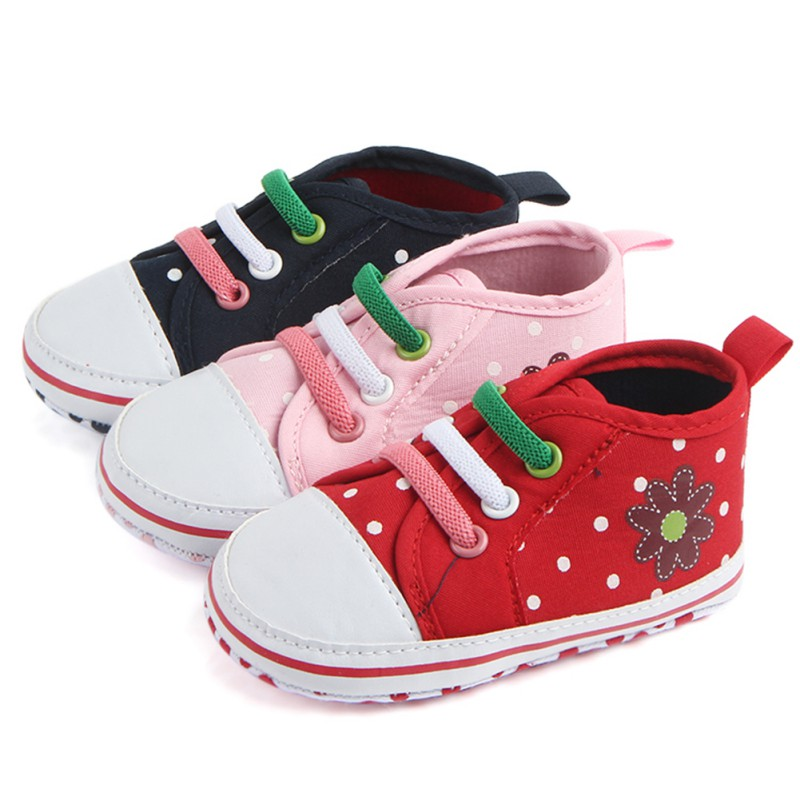Baby Shoes Toldder Girls Canvas Lace Up Prewalkers Casual Sneaker Infant First Walkers