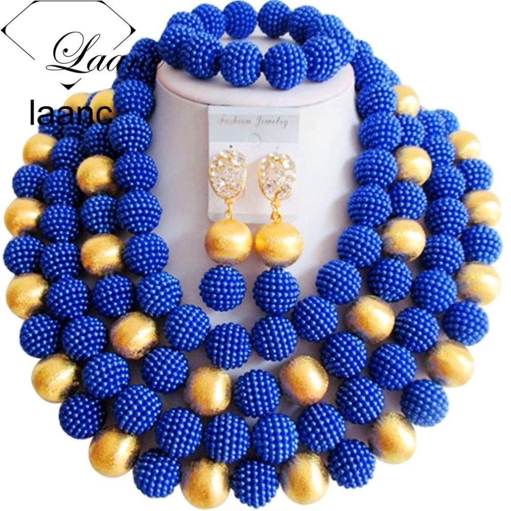 Brand Laanc African Tribal Necklace Crystal Beads Jewelry Set Blue Nigerian Ethiopian Indian Dubai Wedding Accessories AL166