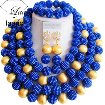 Brand Laanc African Tribal Necklace Crystal Beads Jewelry Set Blue Nigerian Ethiopian Indian Dubai Wedding Accessories AL166