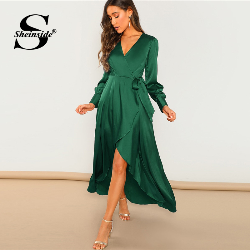 b9f98e6a Detail Feedback Questions about Sheinside Green V Neck Surplice Belted Wrap  Dress Elegant A Line Long Sleeve Ladies Dresses Fashion Party Night Women  Maxi ...