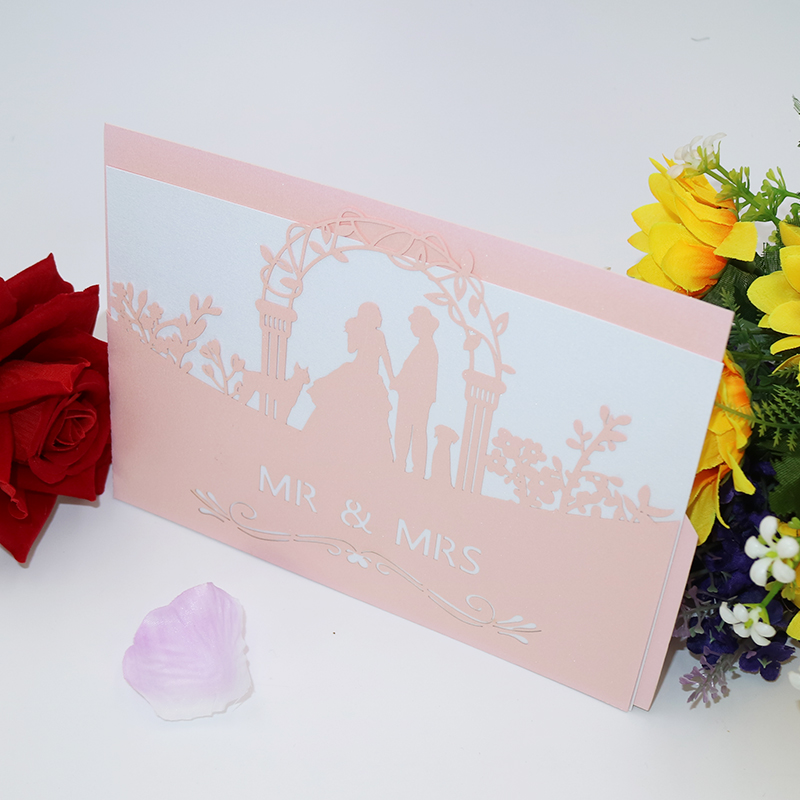 10pcs Invitation Groom & Bride Laser Cutting Wedding Invitation Card Invitation Card and Necka Party Supplies 5ZH07