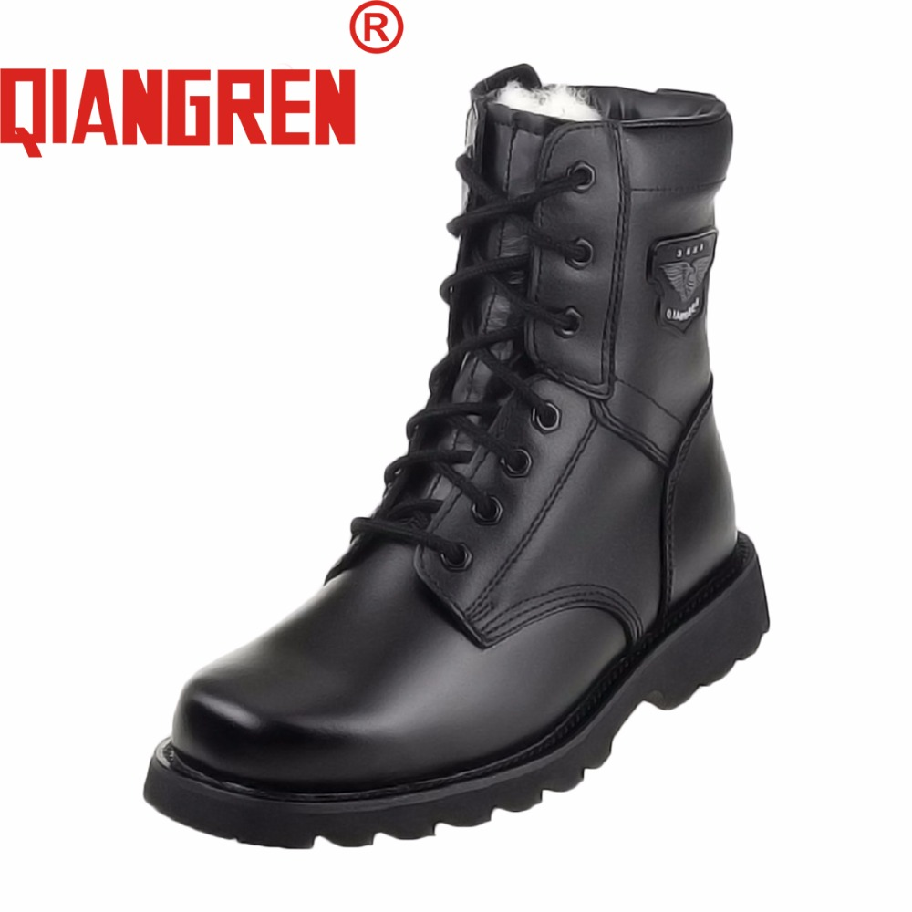 все цены на QIANGREN Military Factory-direct Men's Genuine Leather Rubber Wool Black Winter Snow Boots Outdoors Army Tactical Botas Militar в интернете