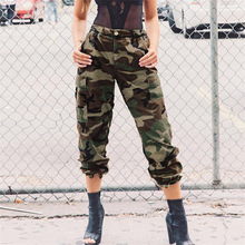 979dc99fce0 2018 Women Camouflage Pants Cotton Camo Printed Trousers Autumn Army Green  Chic Streetwear Ladies High Waist