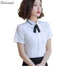 plus size 4XL XXXXL summer short sleeve white blue womens tops fashion office lady shirt  turn-down collar blouse Dushicolorful
