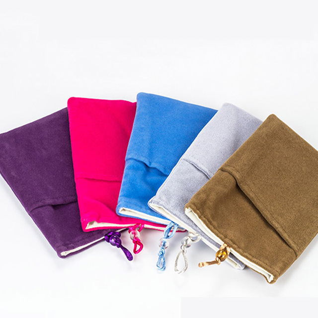 2pcs Lot Colorful Thick Two Double Design Velvet Bag For Mobile Phone Bank