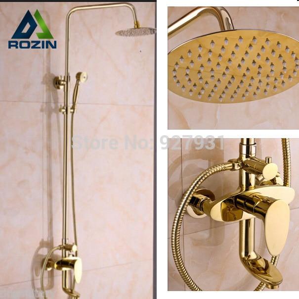 Gold plate Modern 8 inch Large Ultrathin Shower Head Rainfall Bathroom Bath Shower Set Faucet Hand