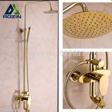 """Gold-platte Moderne 8 """"zoll Große Ultradünne Duschkopf Niederschläge Badezimmer Badewanne Dusche Wasserhahn Set + Handbrause"""