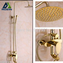 Gold-plate Modern 8″ inch Large Ultrathin Shower Head Rainfall Bathroom Bath Shower Set Faucet + Hand Shower