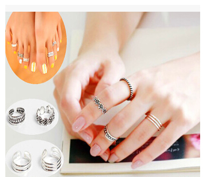 Fashion Kunckle Finger Ring Set Bohemian Carved Flower Toe Ring Sets Adjustable Open Beach Foot Jewelry Band Midi Ring For Women