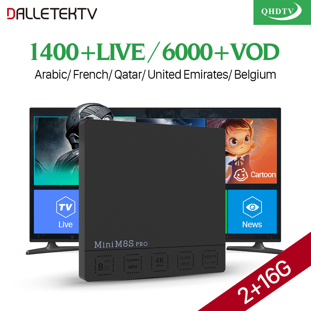 Mini M8S Pro Smart TV Box Android 7.1 2GB 16GB Amlogic S912 H.265 4K WiFi Media Player QHDTV IPTV Europe French Arabic IPTV Box стоимость
