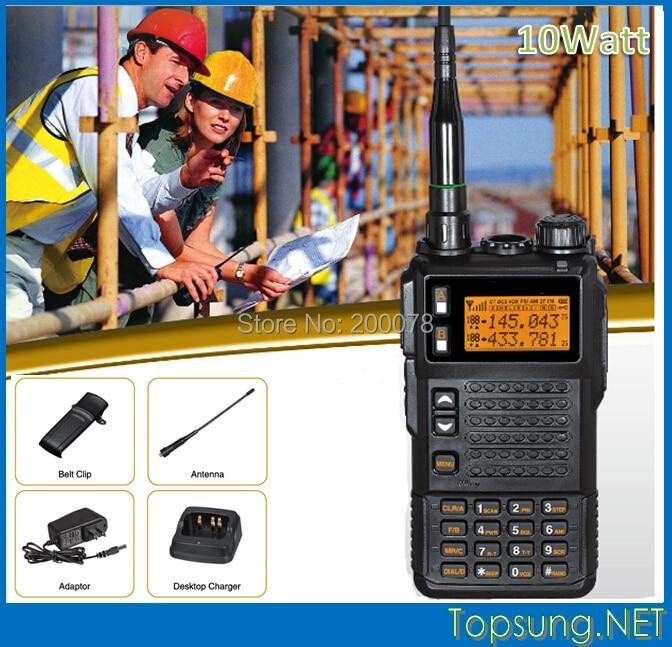 High Power 10 watt Tri-band VHF/UHF two way radio transmitter transceiver radios w/ DTMF/ ANI /Scramble function+LED flashlight