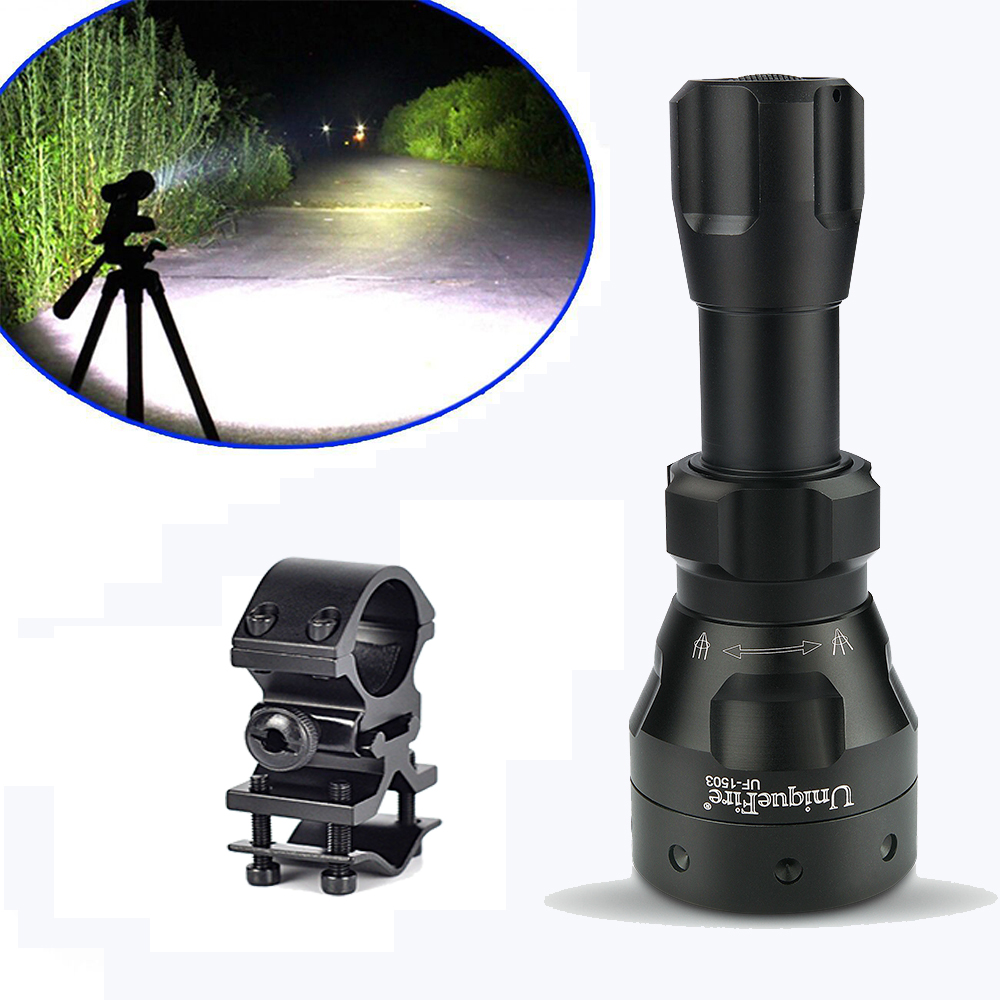 Hot Sale 1503 LED Flashlight UniqueFire Cree XML T6 1200 Lumens Ultra Bright 5 Modes Lamp Torch Power By 18650 Battery+Gun Mount
