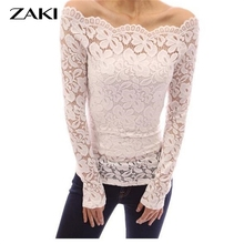 Fashion Blusas 2016 Autumn Sexy lace Women T-shirt Off Shoulder Lace Crochet Shirts Long Sleeve Casual Top T-shirt XS-4XL