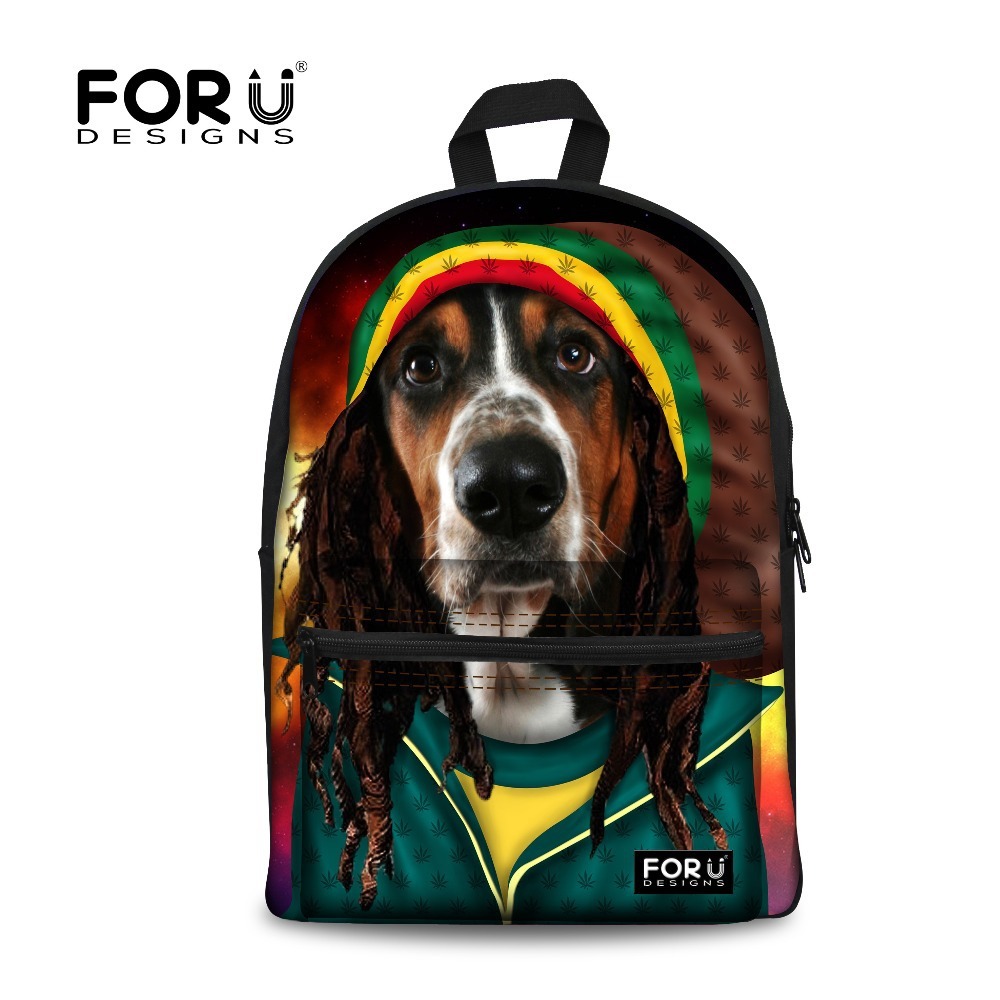 Forudesigns Cool Children Animal Backpack Dog Printing Kids