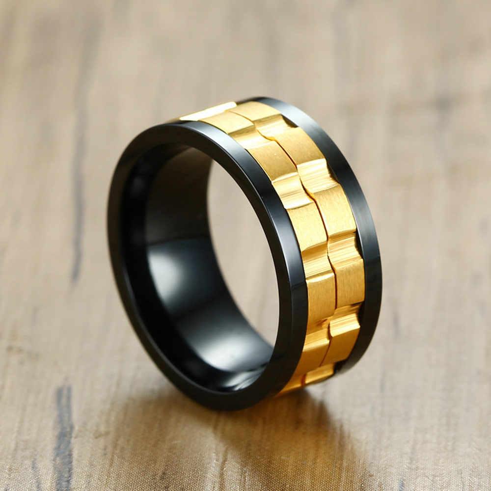 JHSL נירוסטה שחור זהב כסף צבע זכר גברים לסובב טבעות מוצק גימור שחור תכשיטים גודל 6 7 8 9 10 11 12