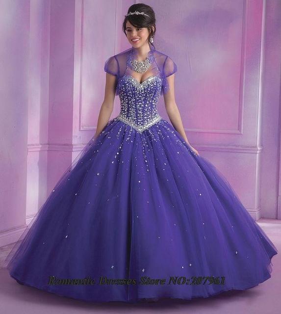 2016 Nova Roxo Vestidos Quinceanera vestido de baile com jaqueta de 15 anos Vestidos De 15 Años Querida com Contas Doce 16 vestido