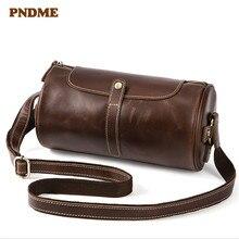 PNDME simple crazy horse leather men's shoulder bag retro cylinder Messenger bag men's casual genuine leather bag все цены