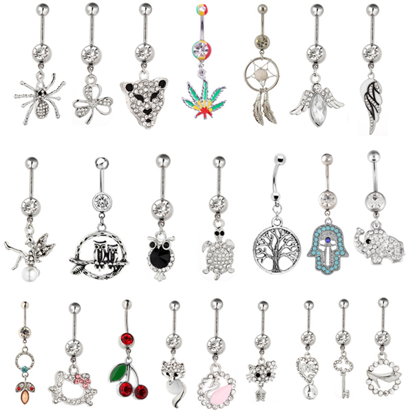 12pcs Gem mixed different design Belly Button Ring 316L