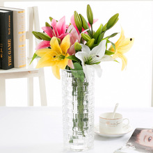 DIY 3 Heads Real Touch Künstliche lilie Flores Hochzeit Braut gefälschte blumen Bouquet Pflanzen weiße lilie Home Party Decor für display