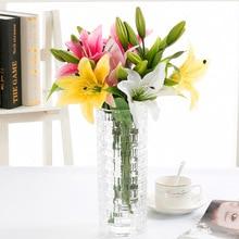 Diy 3 머리 진짜 터치 인공 백합 플로레스 웨딩 신부 가짜 꽃 꽃다발 식물 화이트 릴리 홈 파티 장식 디스플레이