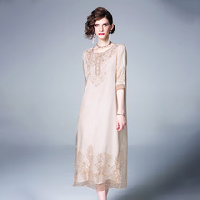 Midi Dress Women Summer Vintage Embroidered Chinese Style 2019 New Round Neck Half Sleeved Loose A-Line Elegant Dresses S-XXL