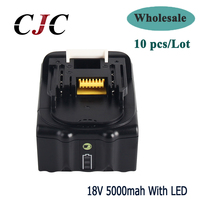 10PCS 18V 5000mAh Li ion Power tools Replacement battery For Makita BL1815 BL1850 LXT400 BL1840 Rechargeable battery with LED