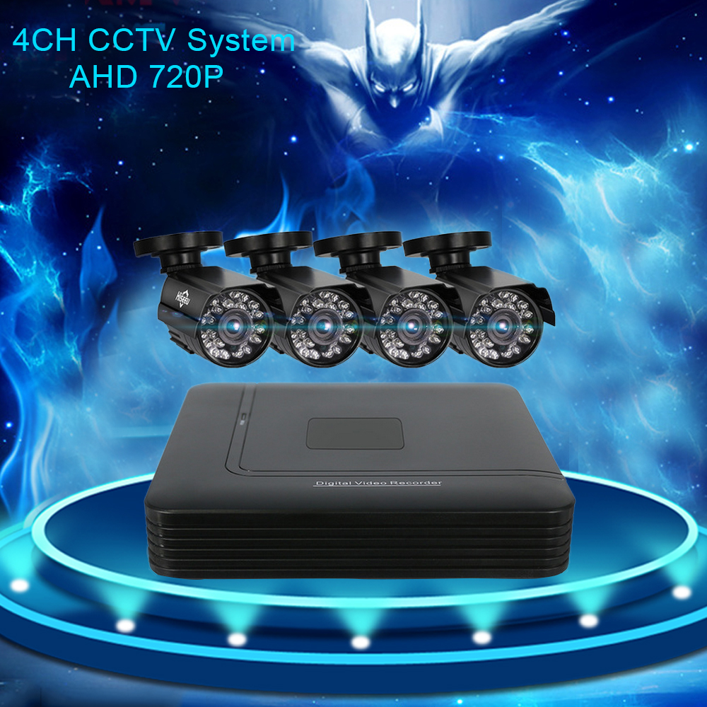 Hiseeu 4CH DVR For CCTV Kit 1200TVL IR 720P Bullet Outdoor AHD Camera Security System VGA