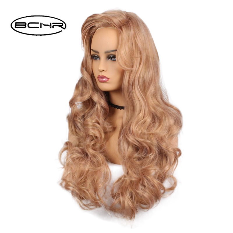 BCHR Long Wavy Synthetic Wig For Women With Ombre Bangs Wig Blonde Color Wigs 22 Inch High Temperature Ladies Hair