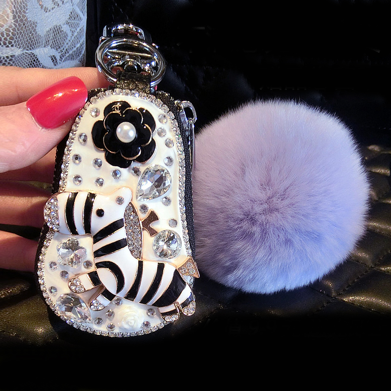 Cute Cartoon Crystal Zebra Leather Car Key Cover Bag Women Housekeeper  Holders Car Keychain Crystal Zipper Key Pouch Case-in Key Case for Car from  ... 59d6e52f8f