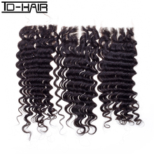 Brazilian Curly Virgin Hair Deep Wave Lace Closure 100% Human Hair Extension Natural Color 1b# TD HAIR Closure