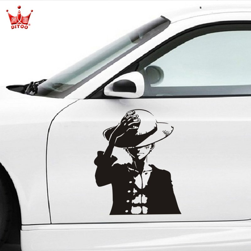 Cartoon one piece design car side door decor stickers and decals,car styling vinyl decal labels,die cut removable decoration