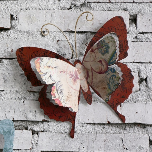 Decor Multi Colored Metal Butterfly Garden Wall Art With Swing U0026 Hanging  Rope