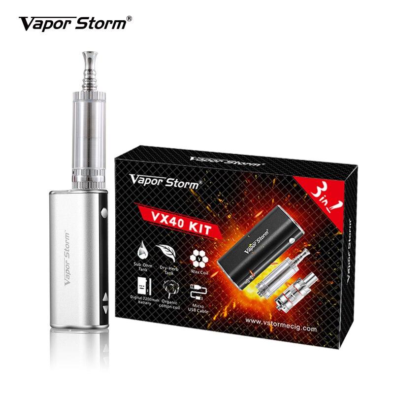 Original vapeur storm vx40w 3-en-1 Cigarettes électroniques pour huile/cire/herbe sèche boîte Mod vape fumant 2200 mah batterie vaporisateur stylo