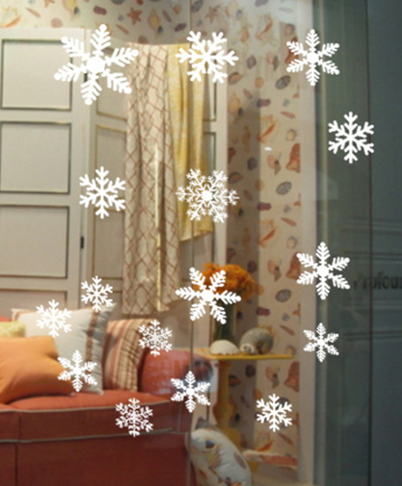 Christmas Wall Stickers Snowflakes Sticker Windows Glass Cabinet New Year Wall Sticker Home