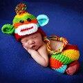 Recién nacido mono colorido vestuario apoyo de la foto trajes jirafa clothing fotografía caps gorros de lana con pantalones de punto hecho a mano