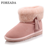 FOREADA Genuine Leather Girls Snow Boots Fur Women Ankle Boots Plush Platform Wedges Low Heel Boots