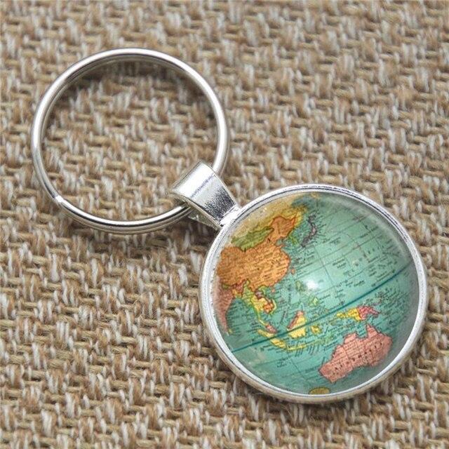 10pcs Vintage Globe keyring Planet Earth World Map Art keyring – Map World Globe Keyrings