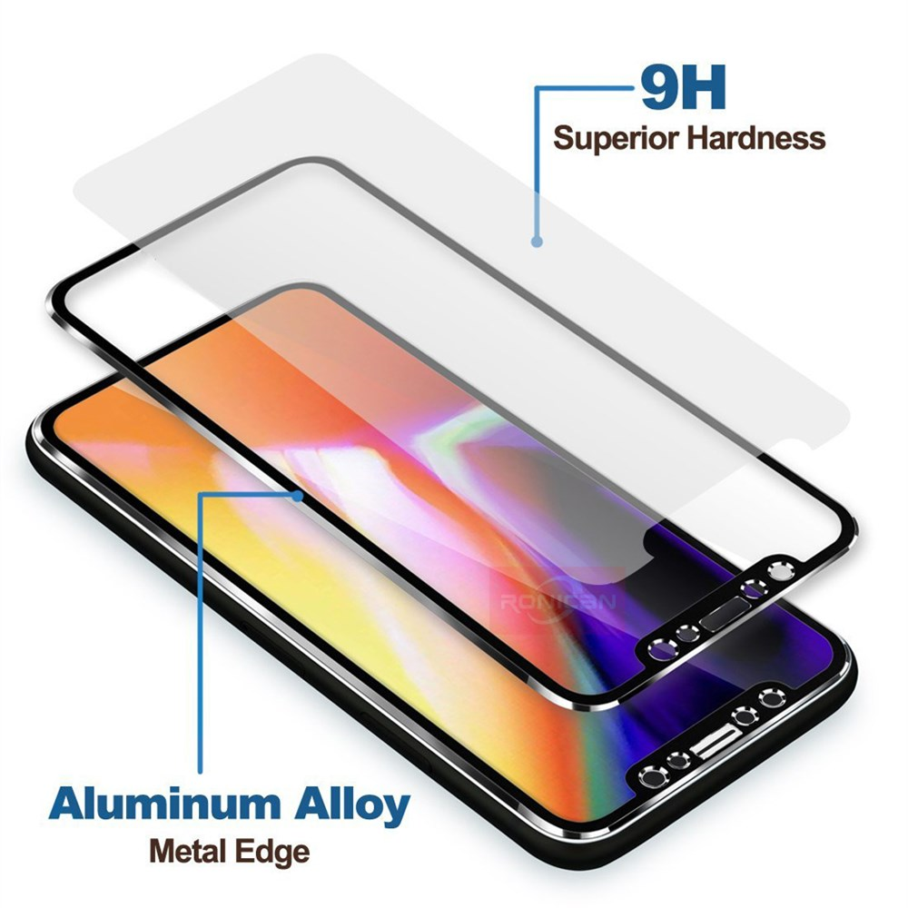 RONICAN Tempered Glass For iphone 6 7 8 Plus 5 5S SE Full Screen Protector 3D Aluminum Alloy For iPhone X 6 7 8 Protective glass (2)