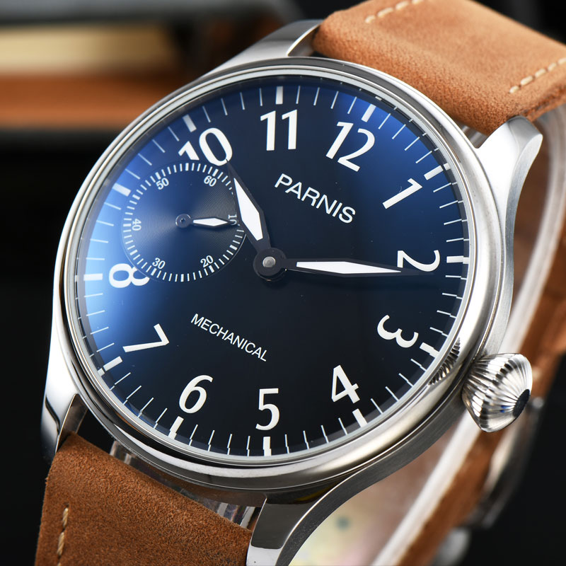Parnis 44mm black dial Luminous Mechanical hand winding 6497 Men Watch Leather strap цены онлайн