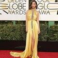 Emily Ratajkowski Celebrity Yellow Vestidos Globo de Oro 2017 Del Vestido de Noche del Hombro Vestidos de Baile vestido de festa