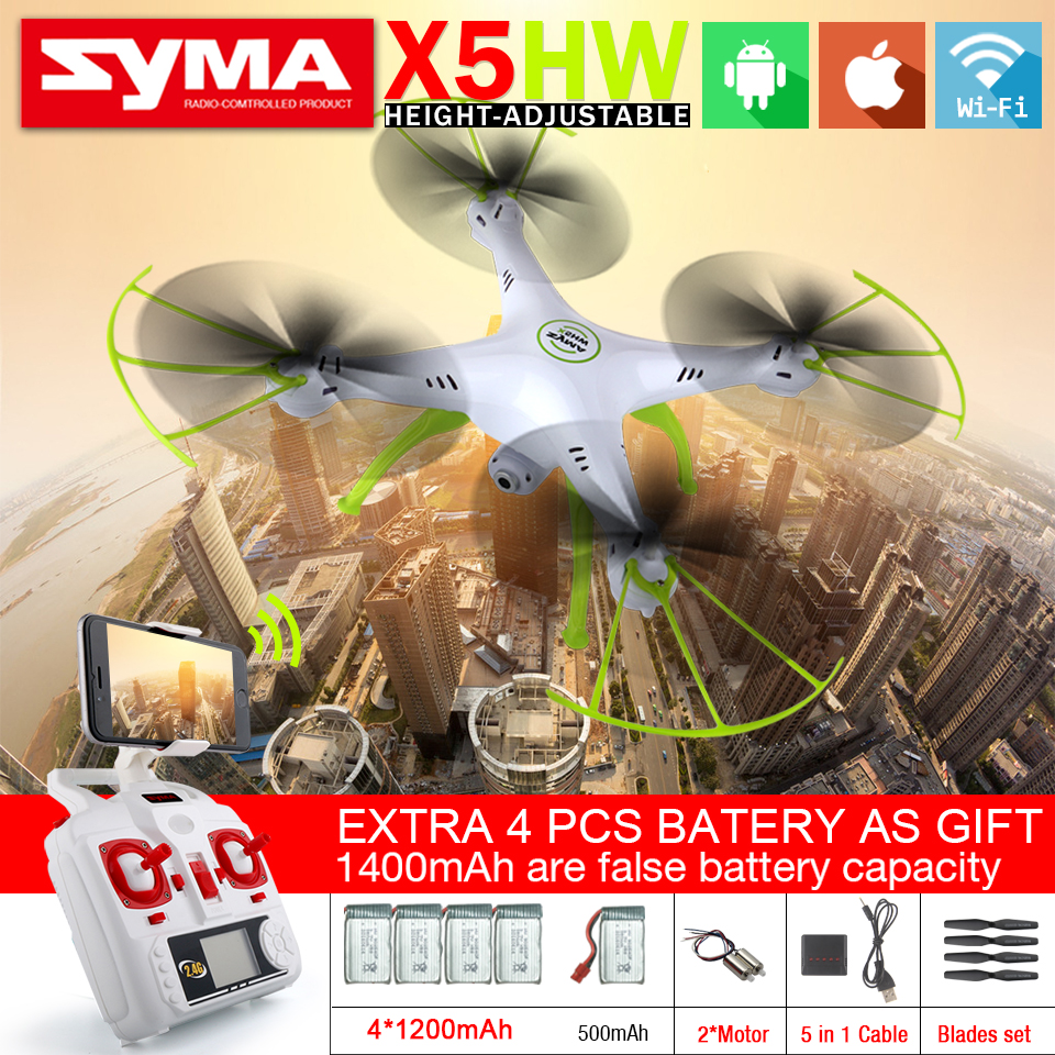 SYMA X5HW & X5HW-1 FPV RC Quadcopter RC Drone with Camera WiFi 2.4G 6-Axis RTF Hover RC Helicopter with 5 Battery VS X5SW syma x5sw fpv dron 2 4g 6 axisdrones quadcopter drone with camera wifi real time video remote control rc helicopter quadrocopter